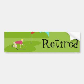 Customizable Retro Golfer Bumper Sticker