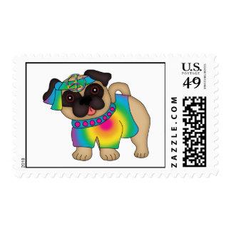 Customizable Retro Hippie Peace Pugs Stamps