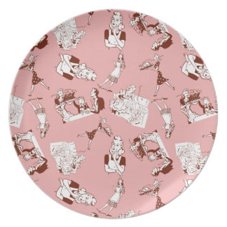 Customizable Retro Housewives Dinner Plate