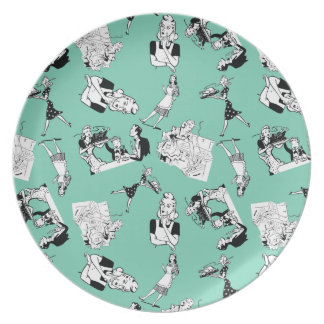 Customizable Retro Housewives Melamine Plate
