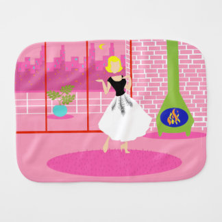 Customizable Retro In the Pink Burp Cloth