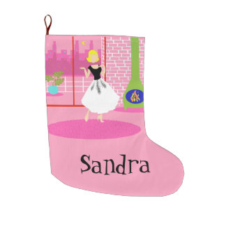 Customizable Retro In the Pink Christmas Stocking