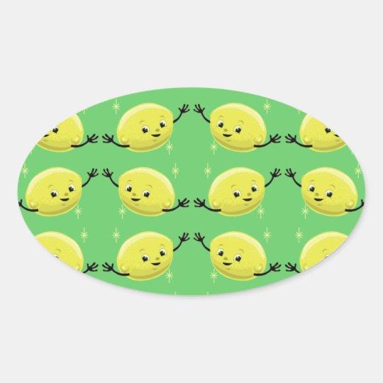 Customizable Retro Lemon Guys Oval Sticker