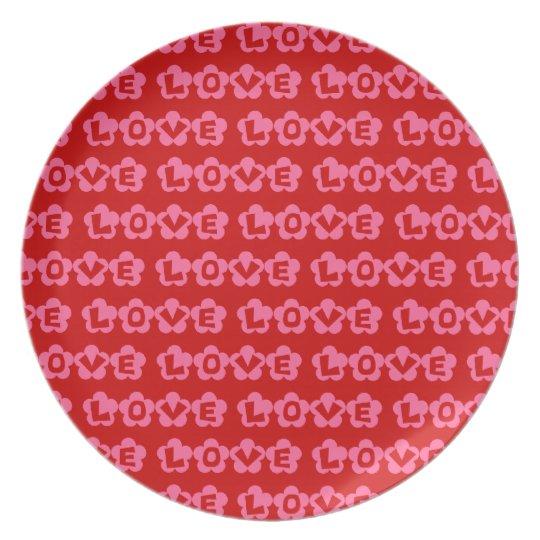 Customizable Retro LOVE Melamine Plate