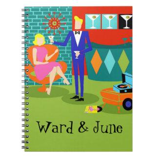 Customizable Retro Martini Couple Spiral Notebook