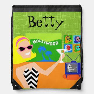 Customizable Retro Movie Star Drawstring Backpack