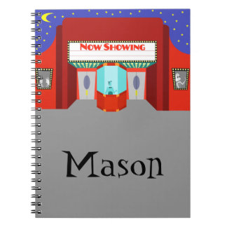 Customizable Retro Movie Theater Spiral Notebook