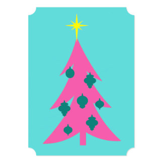 Customizable Retro Pink Christmas Tree Invitations