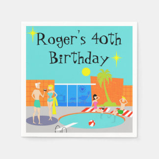 Customizable Retro Pool Party Disposable Napkins
