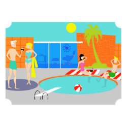 Customizable Retro Pool Party Invitation