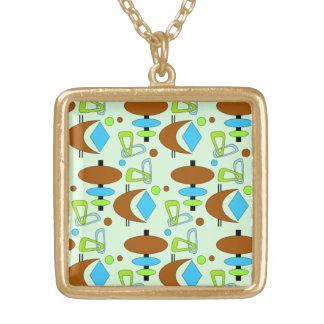 Customizable Retro Shapes Square Pendant Necklace