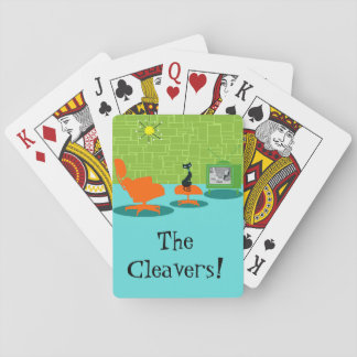 Customizable Retro Space Age Kitty Playing Cards