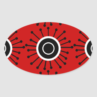 Customizable Retro Starburst Oval Sticker