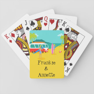 Customizable Retro Surfer Couple Playing Cards
