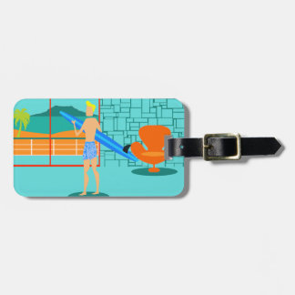 Customizable Retro Surfer Dude Luggage Tag
