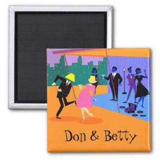 Customizable Retro Urban Rooftop Party Magnet