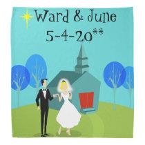 Customizable Retro Wedding Couple Bandana