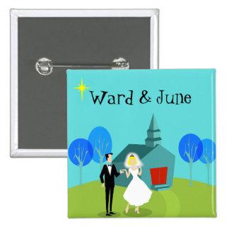 Customizable Retro Wedding Couple Button
