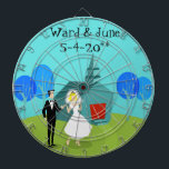 "Customizable Retro Wedding Couple Dart Board<br><div class=""desc"">This Customizable Retro Wedding Couple Dart Board will have you hearing wedding bells. The 1960&#39;s style, minimalist art design features a bride and groom on their wedding day. The happy couple looks good enough to be standing atop a wedding cake. But they aren&#39;t. They&#39;re standing on lush, green grass. The...</div>"