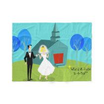Customizable Retro Wedding Couple Fleece Blanket
