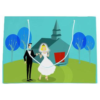 Customizable Retro Wedding Couple Gift Bag