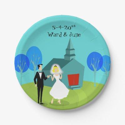 Customizable Retro Wedding Couple Paper Plates