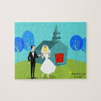 Customizable Retro Wedding Couple Puzzle