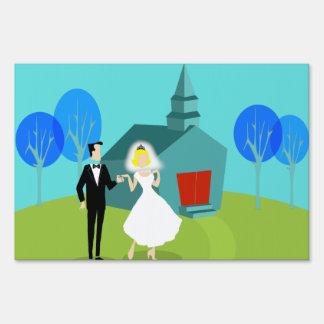 Customizable Retro Wedding Couple Yard Sign
