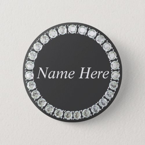 Customizable rhinestones grey button