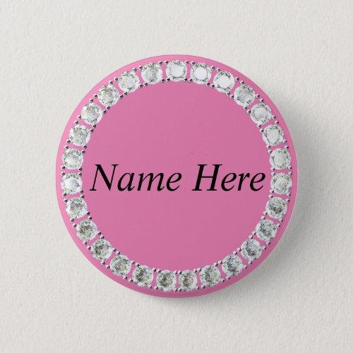 Customizable rhinestones pink button