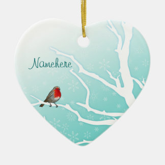 Customizable: Robin in a tree Double-Sided Heart Ceramic Christmas Ornament
