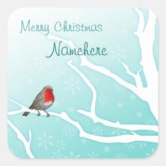 Customizable: Robin in a tree Square Sticker