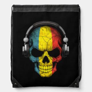 Customizable Romanian Dj Skull with Headphones Cinch Bag