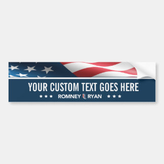 CUSTOMIZABLE Romney Ryan Flag Bumper Sticker