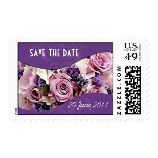 Customizable rose & lavender postage purple