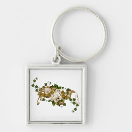 CUSTOMIZABLE Roses and Golden Clover Keychain