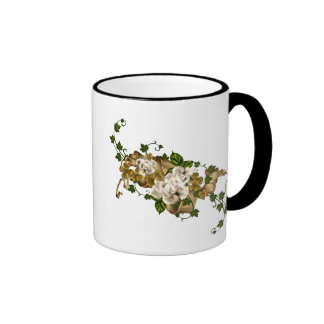 Customizable Roses Gold and Clover Coffee Mugs