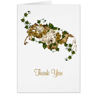 Customizable Roses Gold and Clover Greeting Card