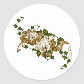 Customizable Roses Gold and Clover Round Sticker