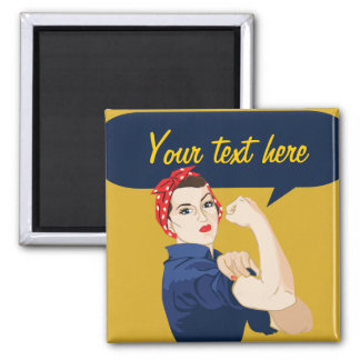 Customizable Rosie Riveter 2 Inch Square Magnet