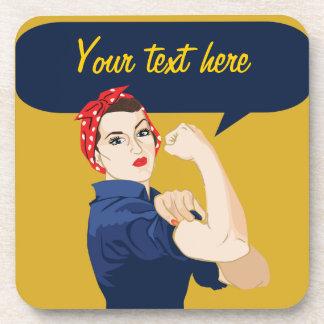 Customizable Rosie Riveter Drink Coasters