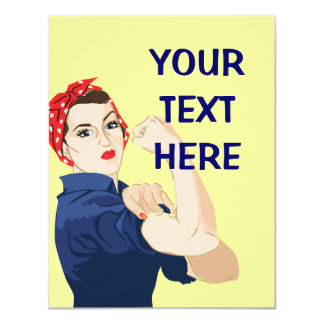 Customizable Rosie Riveter 4.25x5.5 Paper Invitation Card