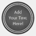 Customizable Round Faux Chalkboard Design Stickers