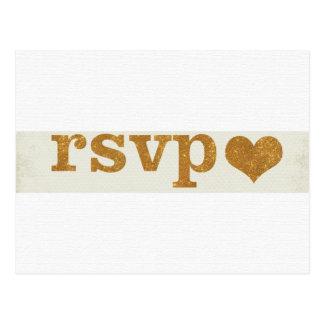 Customizable RSVP Gold Heart Postcard