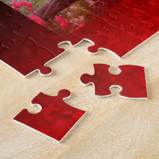 Customizable Ruby Red Clouded Fade Jigsaw Puzzle