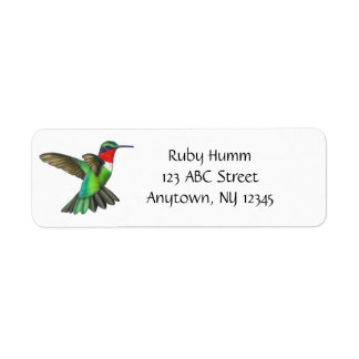 Customizable Ruby Throated Hummingbird Avery Label