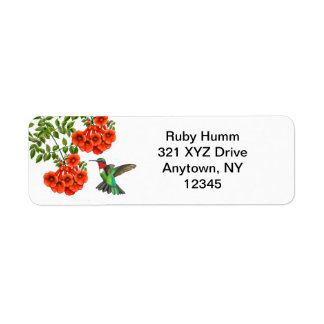 Customizable Ruby Throated Hummingbird on Trumpet Return Address Labels