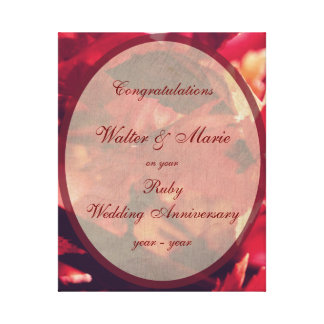 Customizable Ruby Wedding Anniversary Canvas Print