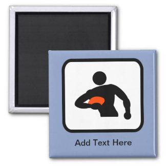 Customizable Rugby Player Logo 2 Inch Square Magnet