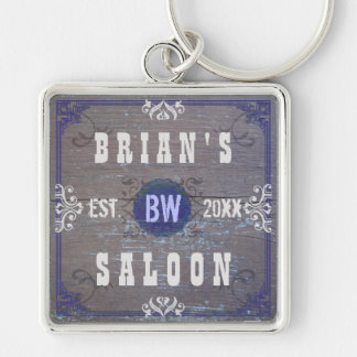 Customizable Rustic Saloon: Wood Grain Silver-Colored Square Keychain
